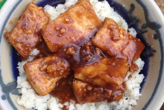 Hoisin-Peanut Tofu with Coconut (Cauliflower) Rice