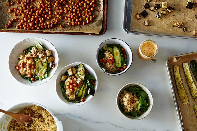 Mediterranean Vegetable Bowls with Quinoa, Toasted Chickpeas, and Harissa Tahini