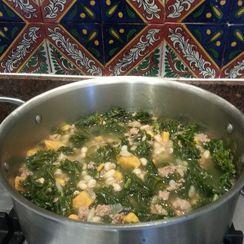 Portuguese Sausage, Kale and Sweet Potato Soup