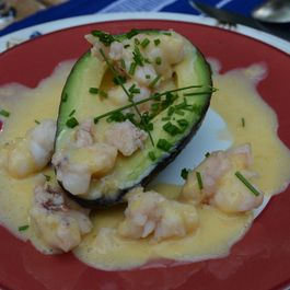 Avocado Cups with Lobster and Grapefruit Sabayon Cream