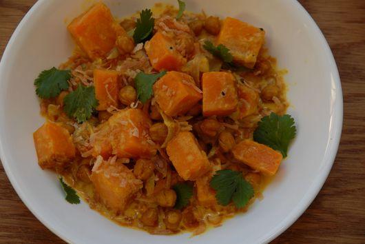 Vegan butternut squash stew with garbanzo beans