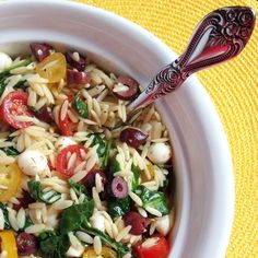 Caprese Orzo with Greens and Olives