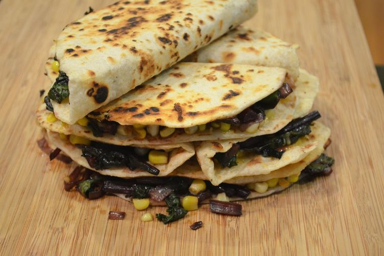 Sweet corn, beet green, leek, and smoked gouda quesadillas