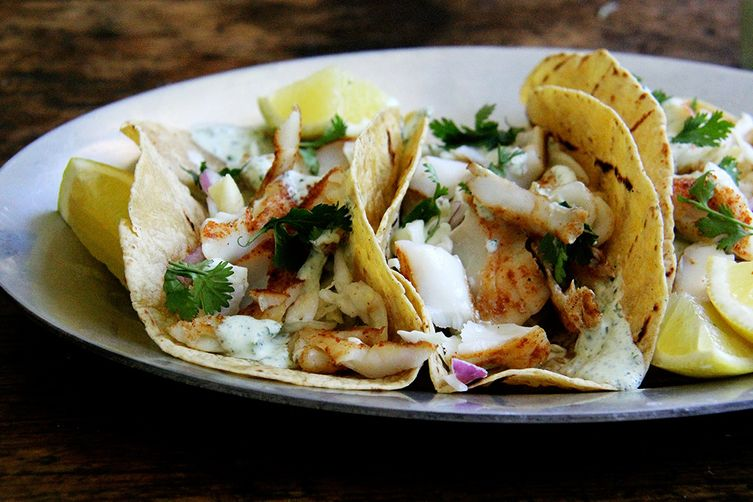 Skillet grilled fish tacos with cilantro lime crema recipe for Best fish tacos nyc