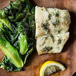 Halibut Over Wilted Escarole
