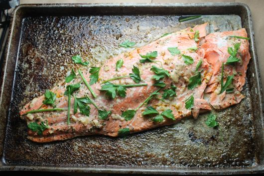 Garlic & Saffron Roasted Salmon