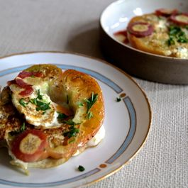 Eggs in an Heirloom tomato basket