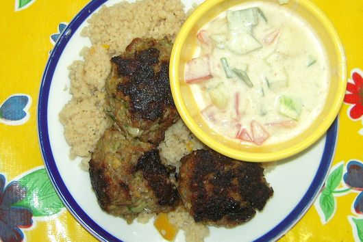Lamb meatballs with lemon couscous and yogurt sauce