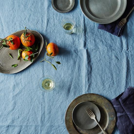 Celina Mancurti Indigo Linen Tablecloth