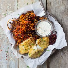 Crispy White Fish + Sweet Potato & Beet Curly Fries