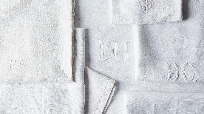 FRENCH DESIGNED BOTANICAL Monogrammed Embroidered Napkins
