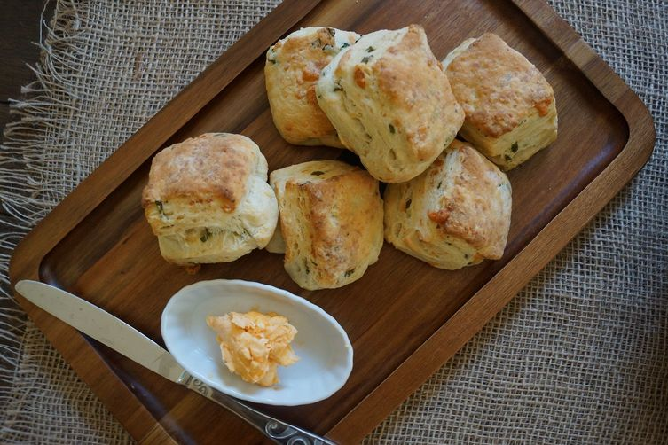 White Cheddar and Scallion Biscuits with Hot Sauce Butter Recipe on ...