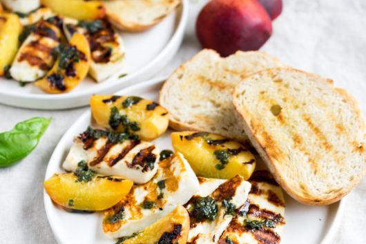 Grilled Halloumi and Peaches