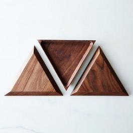 Walnut Triangle Trivet Tray Set