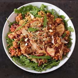 WARM LENTIL SALAD WITH ROASTED VEGETABLES AND APPLES