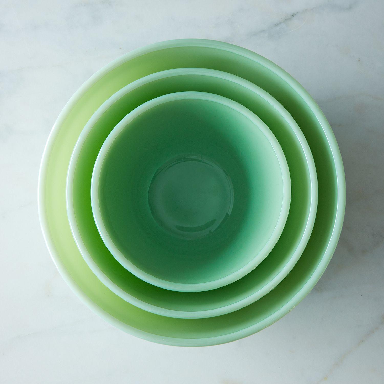 jadeite glass 3 piece mixing bowl set on food52. Black Bedroom Furniture Sets. Home Design Ideas