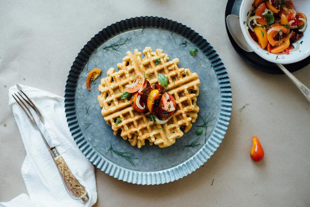 Zucchini-Basil Chickpea Waffles