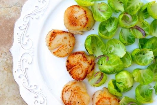 Smoked Applewood Scallops with Brussels Sprout Leaves
