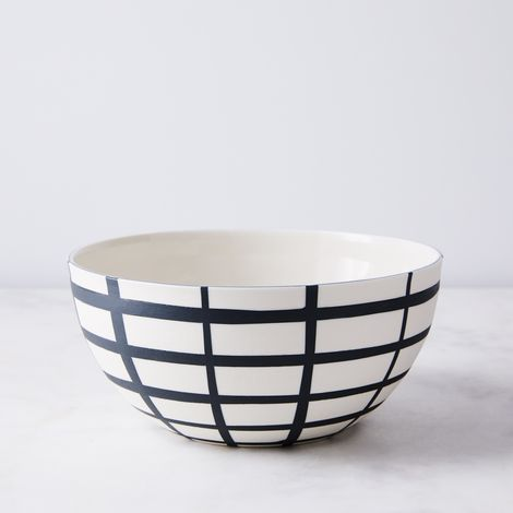 Handmade Inlaid Porcelain Grid Bowl