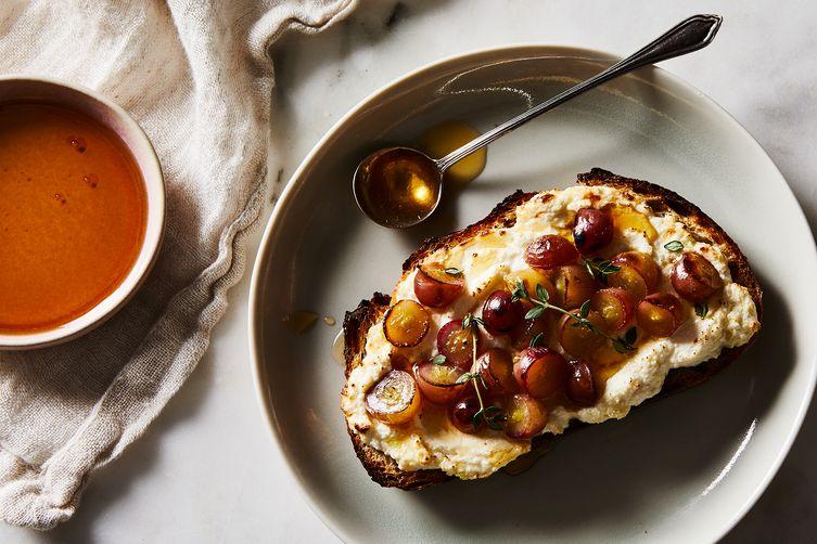 Roasted Grape + Ricotta + Thyme Toast