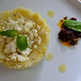 Sweet Corn and Arborio Risotto with Feta & butternut oil