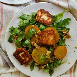 Golden Beet, Halloumi, and Walnut Salad