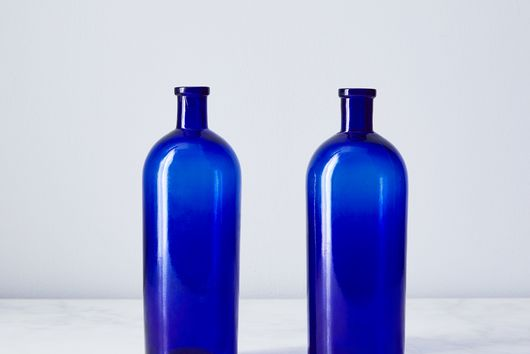 Vintage French Blue Apothecary Bottles (Set of 2)