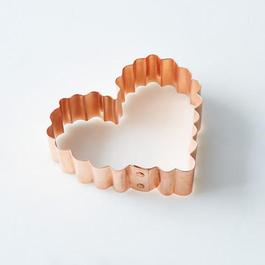 Vintage Copper Heart Cookie Cutter with Scalloped Edge