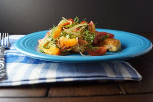 Crispy Chicken Cutlets with Tomato Fennel Salad