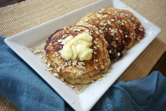 Honey Oat Pancakes with Honey Butter Syrup