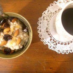porridge with dried cherries rosewater, vanilla and cardamom