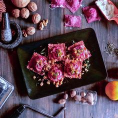 Beetroot Ravioli with Ricotta Cheese Filling&Walnut Butter Sauce