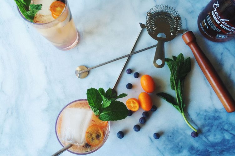 Kumquat-Blueberry Mule with Bourbon