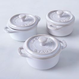 Staub Ivory Rustic Ceramic Mini Round Cocottes (Set of 3)