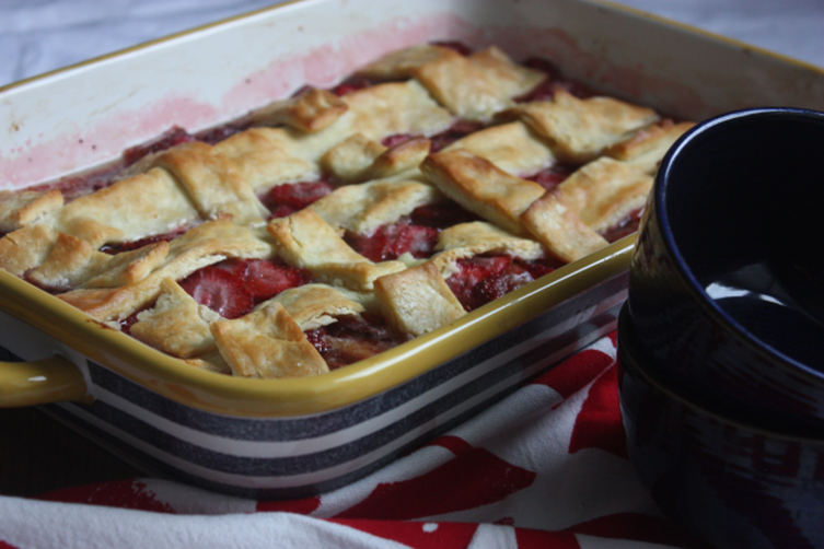 Balsamic Strawberry Cobbler