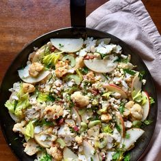 Half-Roasted Cauliflower with Pancetta, Apple and Celery
