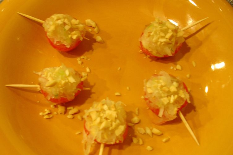 Pickled Papaya Stuffed Cherry Tomatoes