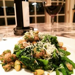 Broccoli Rabe, Sausage and Cannellini Beans