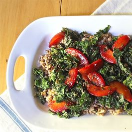 Warm Ricotta Farro with Grilled Kale and Plums