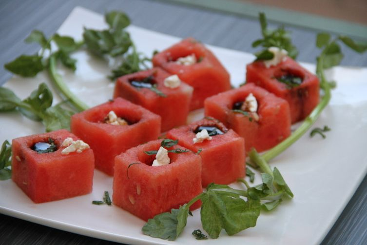 Watermelon cubes with Feta and Balsamic