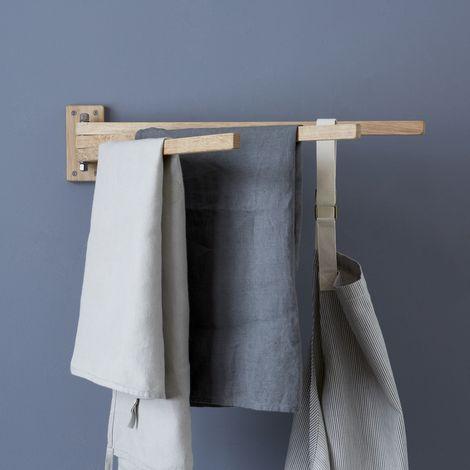 Swedish Wooden 3-Prong Towel Rack
