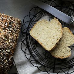 Spelt bread topped with sesame seeds