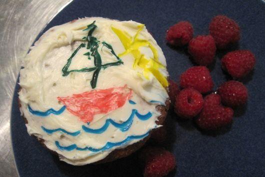 Banana Muffins with Raspberries