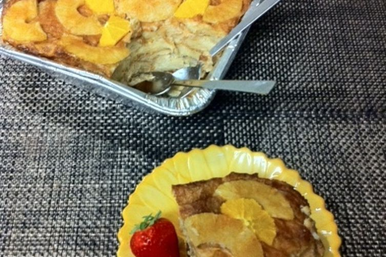 Croissant Bread Pudding for Rutty with Rum, Orange and Bananas