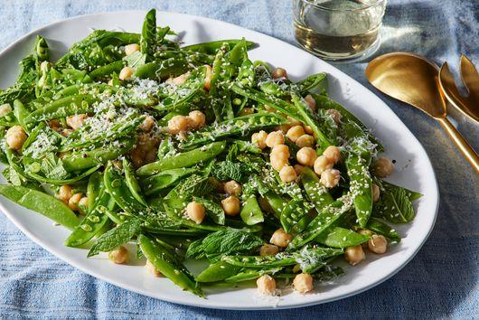 Miso-Garlic Snap Pea Salad With Pecorino & Mint