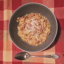 Saffron Risotto with Porcini Mushrooms and Sausage