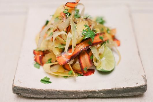 Carrot and coriander ribbon salad