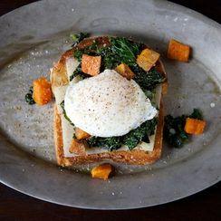 Sautéed Kale, Roasted Sweet Potato and Poached Egg Holiday Toast