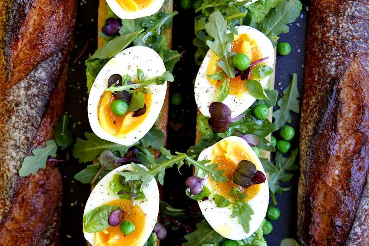 Spring Baguette: Fresh Pea Pesto, Baby Greens and Delicately Boiled Eggs