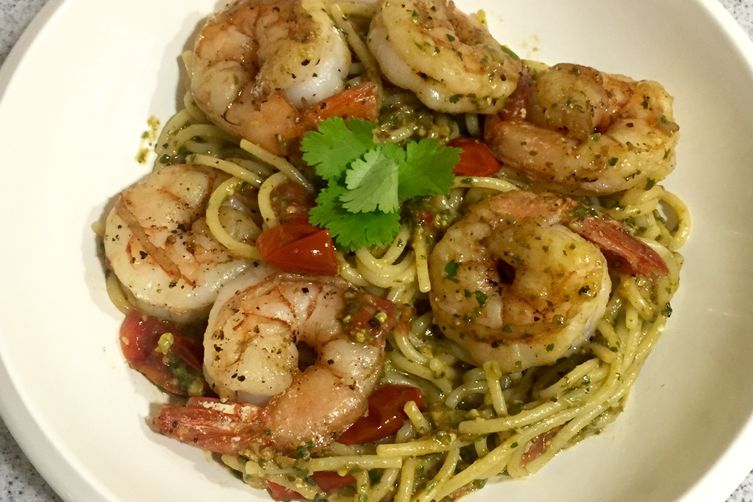 Spaghetti with Cilantro-Pistachio Pesto and Shrimp